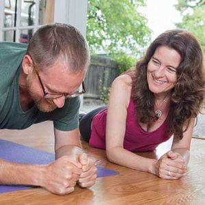 Mary Gorman PT with a client showing core strength