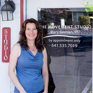 Mary Gorman PT outside The Movement Studio in Talent